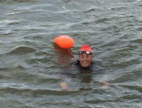 Happy after completing a channel crossing swim