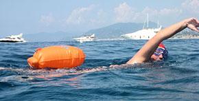 Swim safe with an orange float